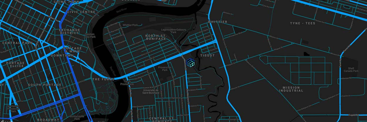 Map of Winnipeg focusing on St. Boniface and the location of Next Level Escapes
